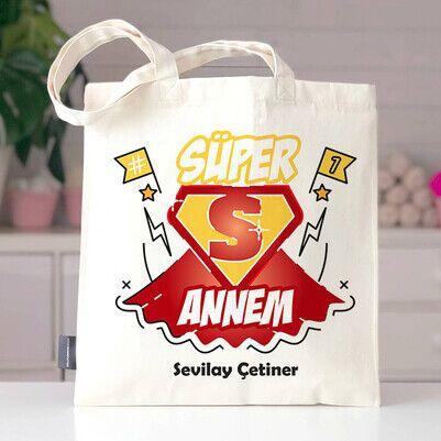 - Süper Annem İsimli Bez Çanta