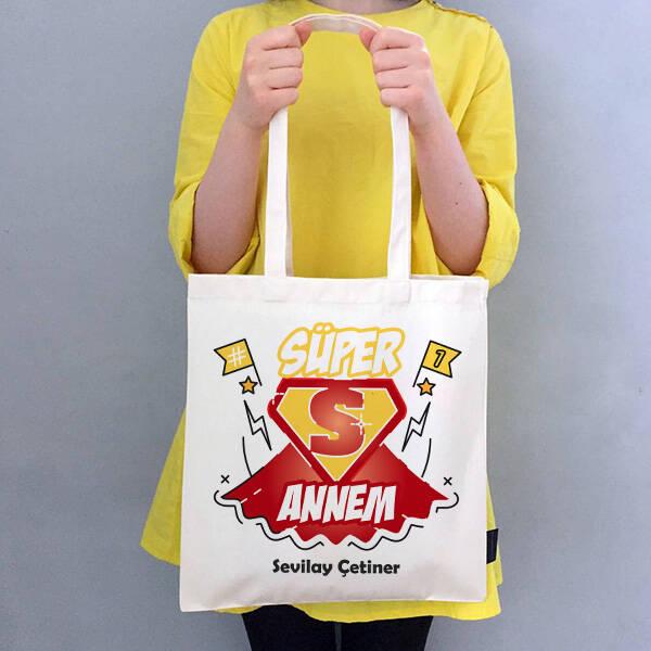 Süper Annem İsimli Bez Çanta
