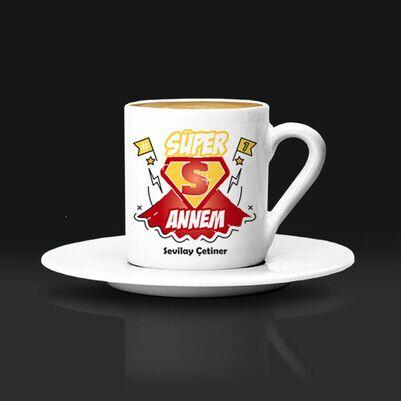 Süper Annem İsimli Kahve Fincanı - Thumbnail