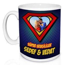 Süper Aşıklar Fotoğraflı Kupa Bardak - Thumbnail
