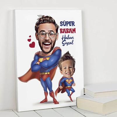 - Süper Baba ve Oğlu Karikatürlü Kanvas Tablo