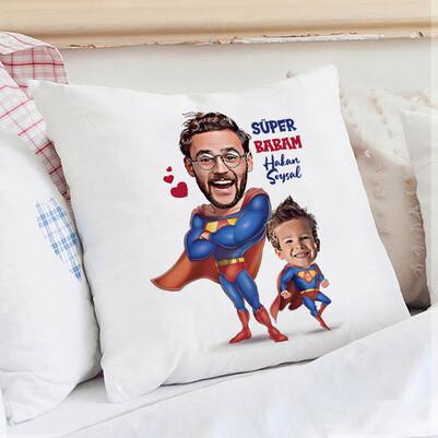- Süper Baba ve Oğlu Karikatürlü Yastık