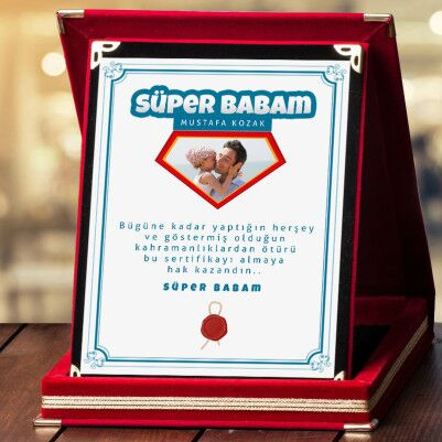 - Süper Babam Fotoğraflı Plaket
