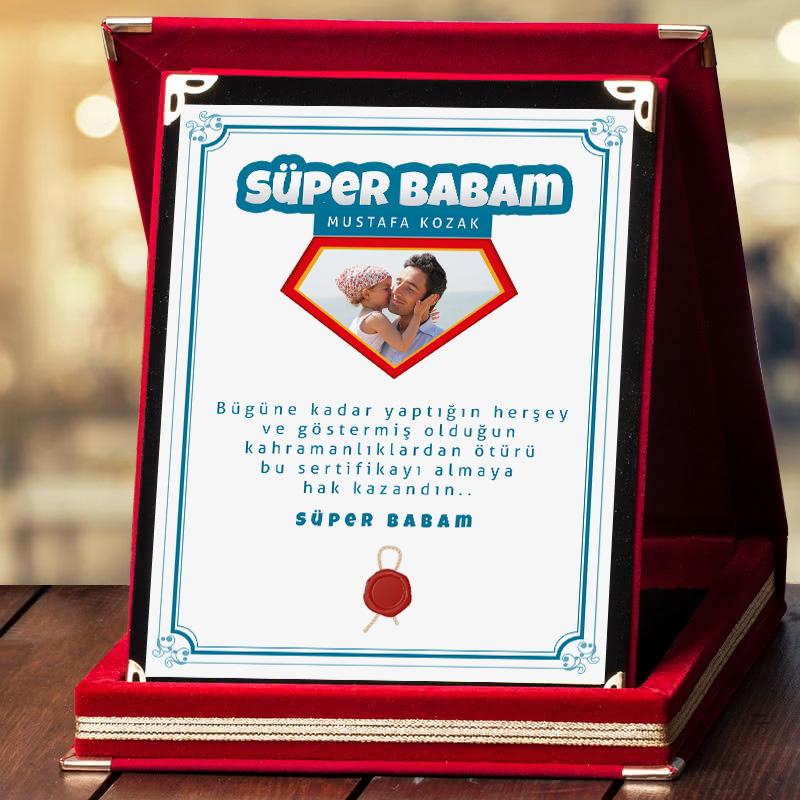 Süper Babam Fotoğraflı Plaket