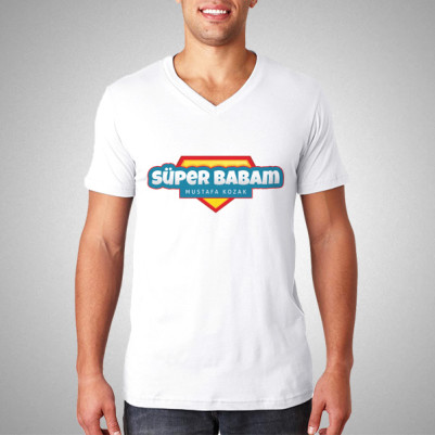 - Süper Babam İsme Özel Tişört