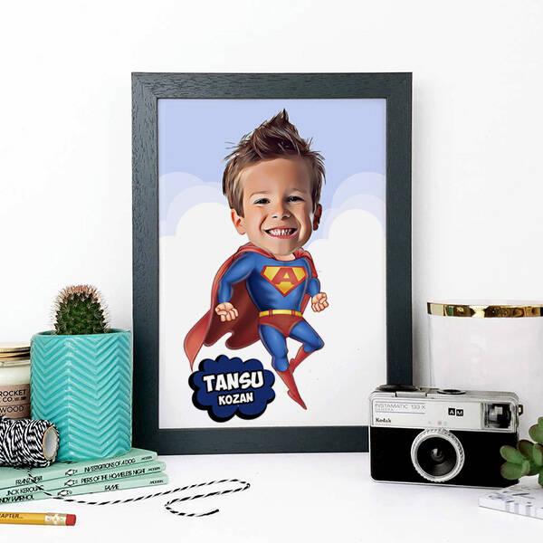 Süper Çocuk Karikatürlü A4 Çerçeve