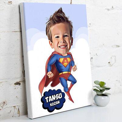 - Süper Çocuk Karikatürlü Kanvas Tablo