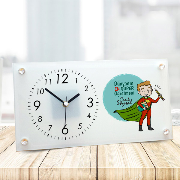Süper Erkek Öğretmen Cam Masa Saati