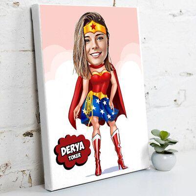 - Süper Kadın Karikatürlü Kanvas Tablo