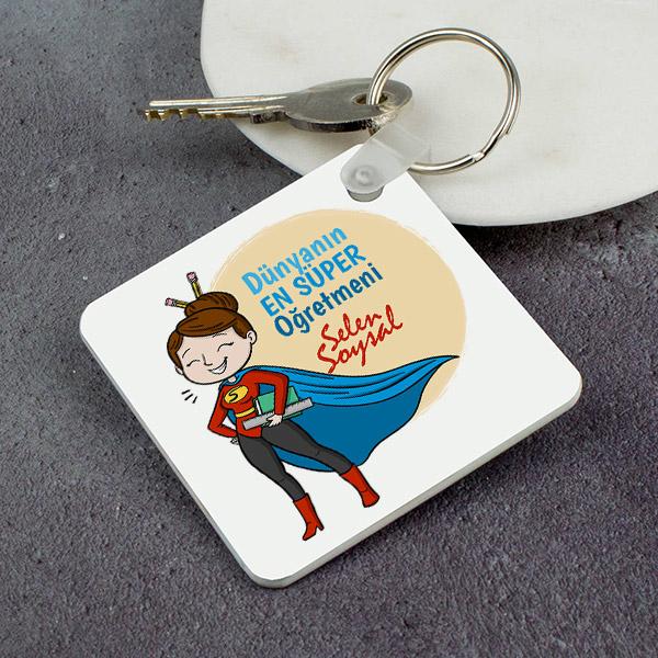 Süper Kadın Öğretmen Anahtarlık
