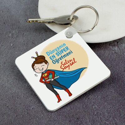 - Süper Kadın Öğretmen Anahtarlık