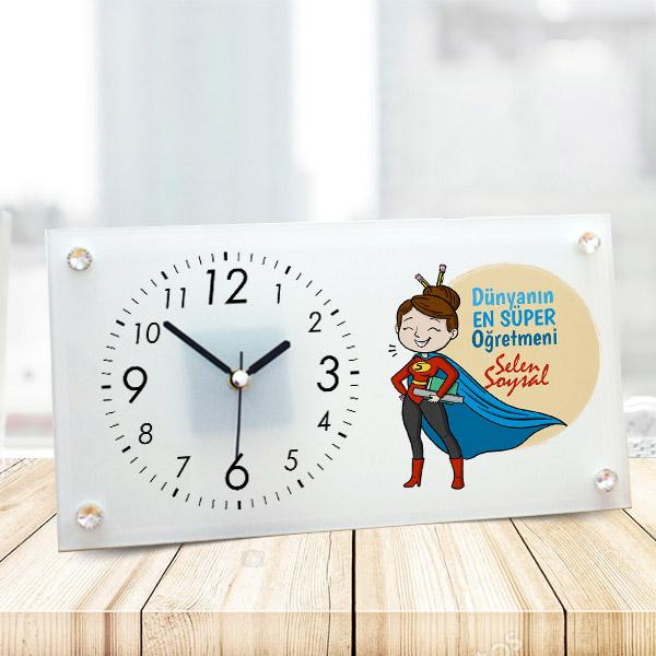 Süper Kadın Öğretmen Cam Masa Saati