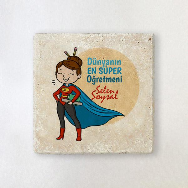 Süper Kadın Öğretmen Taş Bardak Altlığı