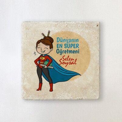 - Süper Kadın Öğretmen Taş Bardak Altlığı
