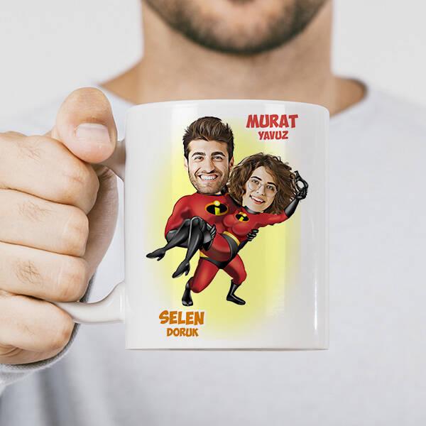 Süper Kahraman Sevgililer Karikatürlü Kupa Bardak