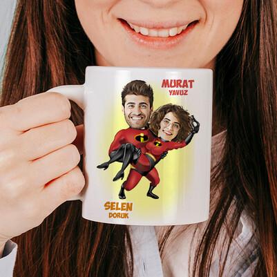Süper Kahraman Sevgililer Karikatürlü Kupa Bardak - Thumbnail