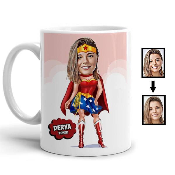Süper Kız Karikatürlü Kupa Bardak