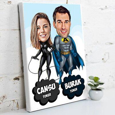 - Süper Sevgililer Karikatürlü Kanvas Tablo