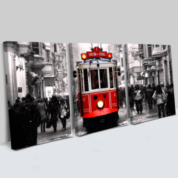 Taksim Tramvay 3 Parça Kanvas Tablo