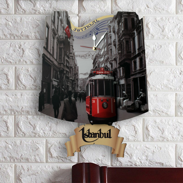 Taksim Tramvay Sarkaçlı Duvar Saati