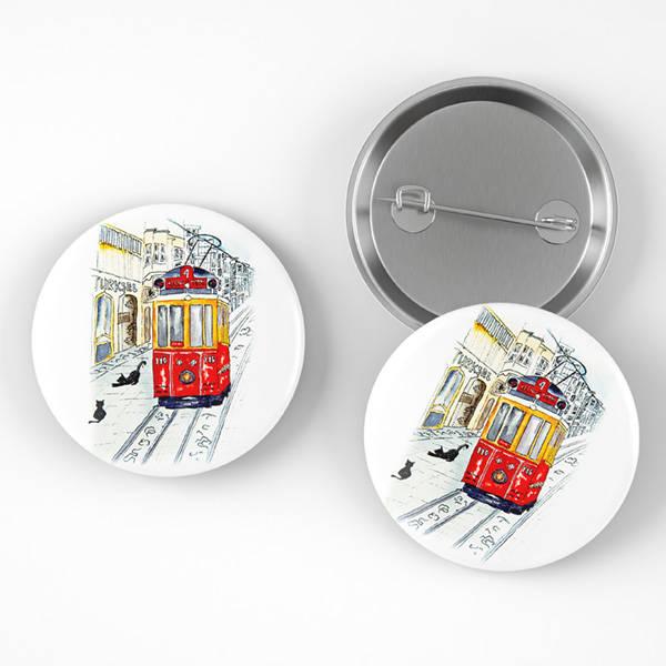 Taksim Tramvay Tasarımlı Buton Rozet