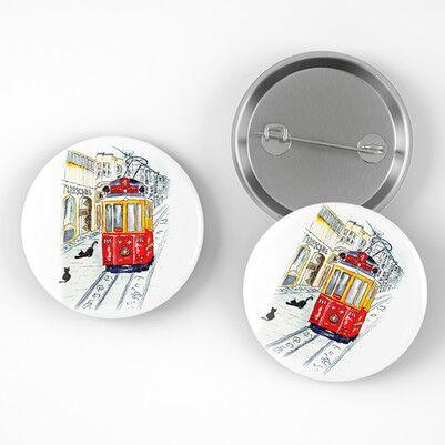 Taksim Tramvay Tasarımlı Buton Rozet - Thumbnail