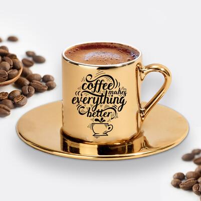 - Tasarım Gold Kahve Fincanı
