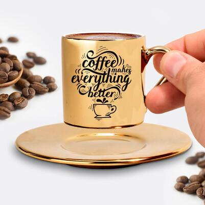 Tasarım Gold Kahve Fincanı - Thumbnail