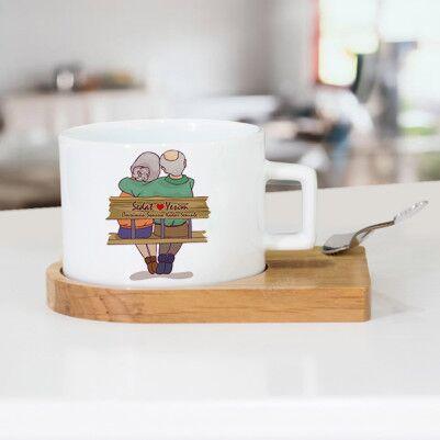 - Tasarım Yaşlı Çiftler Sevgili Çay Fincanı