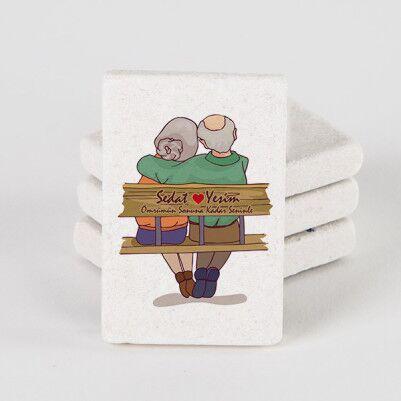- Tasarım Yaşlı Çiftler Taş Buzdolabı Magneti