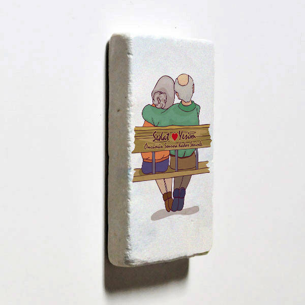Tasarım Yaşlı Çiftler Taş Buzdolabı Magneti
