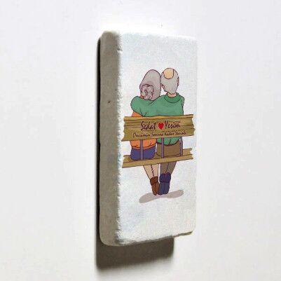 Tasarım Yaşlı Çiftler Taş Buzdolabı Magneti - Thumbnail