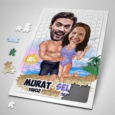 - Tatildeki Sevgililer Karikatürlü Puzzle
