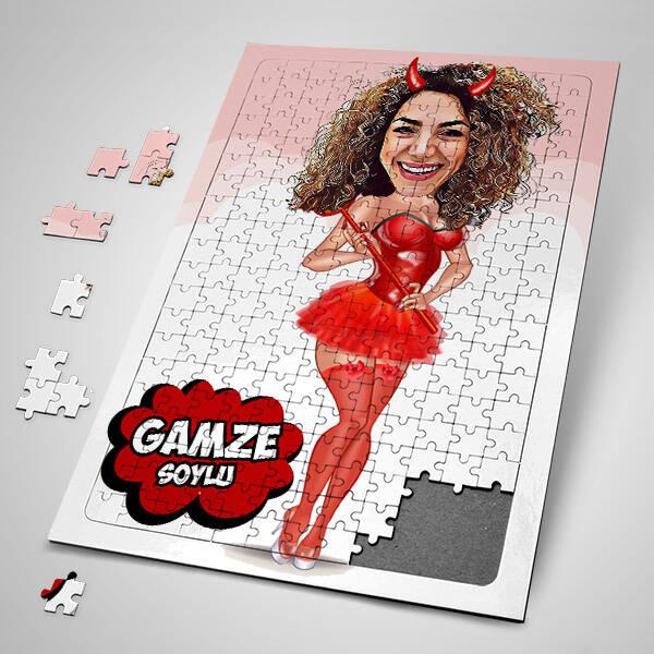 Tatlı Cadı Karikatürlü Puzzle