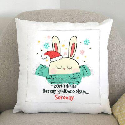 - Tavşan Temalı Yılbaşına Özel Yastık