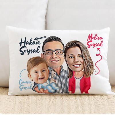 - Tek Çocuklu Aile Karikatürlü Yastık