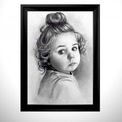 Tek Kişilik Karakalem Portre Resim - Thumbnail