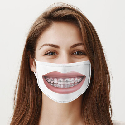 - Telli Dişler Yıkanabilir Tasarım Maske