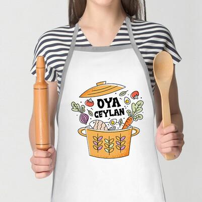 - Tencere Yemek Tasarımlı İsimli Mutfak Önlüğü