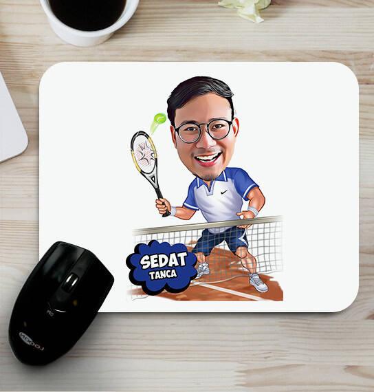 Tenis Oyuncusu Erkek Karikatürlü Mouse Pad