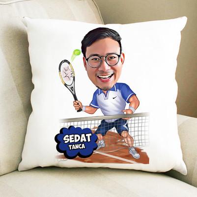 - Tenis Oyuncusu Karikatürlü Yastık