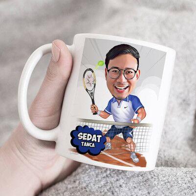 - Tenisçi Karikatürlü Kupa Bardak