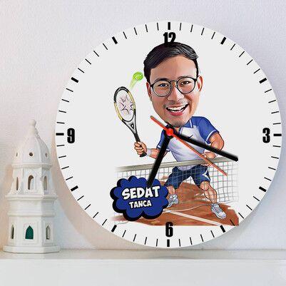 - Tenisçi Tasarımlı Karikatürlü Duvar Saati