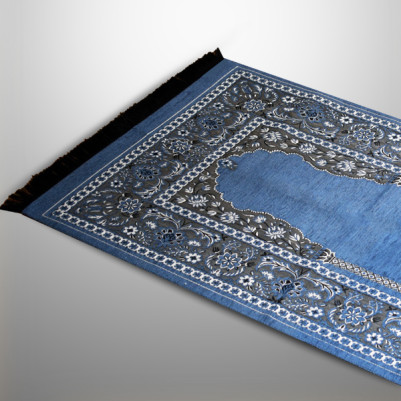 Tespih Hediyeli Mavi Renk Desenli Seccade - Thumbnail