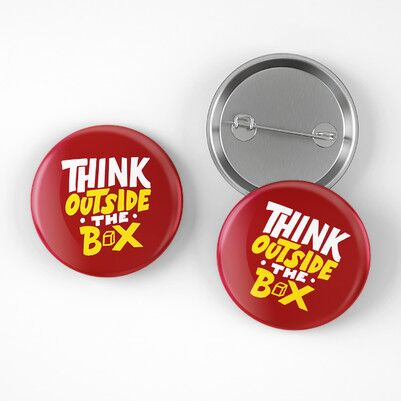 Think Outside The Box Buton Rozet - Thumbnail
