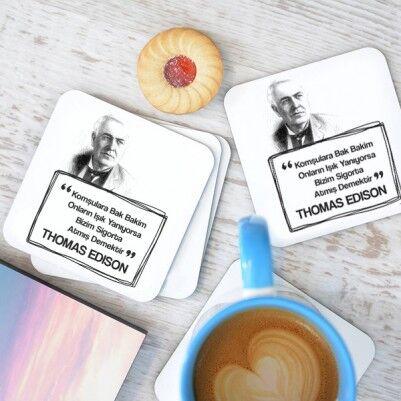 - Thomas Edison Esprili Bardak Altlığı Seti