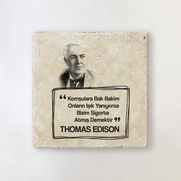 Thomas Edison Esprili Taş Bardak Altlığı