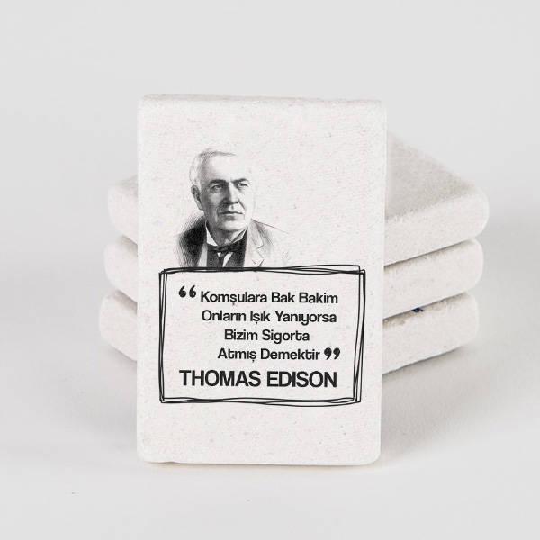 Thomas Edison Esprili Taş Buzdolabı Magneti