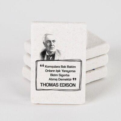 - Thomas Edison Esprili Taş Buzdolabı Magneti
