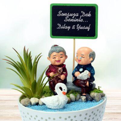 Tontiş Yaşlı Aşıklar Temalı Minyatür Bahçe - Thumbnail